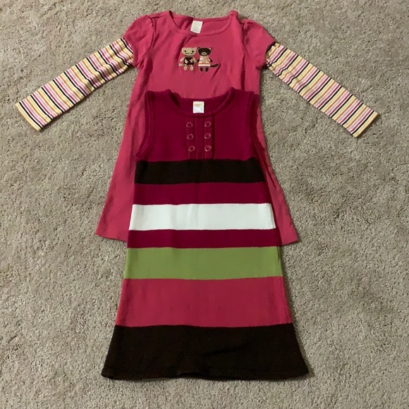 Gymboree, 2 dresses ( pink-size 5 /multi -size 6)